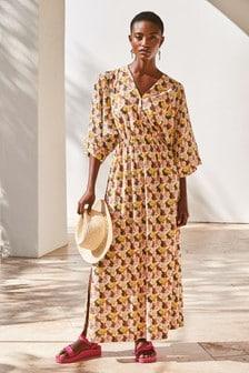 Floral Print Kaftan Long Sleeve Dress