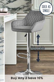 Opulent Velvet Steel Hamilton Adjustable Chrome Leg Bar Stool