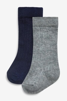Grey/Navy 2 Pack Knee Length Socks (Younger)