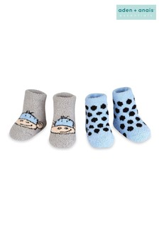 aden + anais Blue Monkey Spot Cozy Booties Two Pack Gift Set