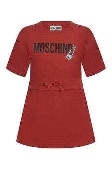 فستان فليس قطن أحمربناتي