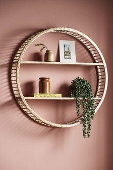Wood And Rattan Shelf