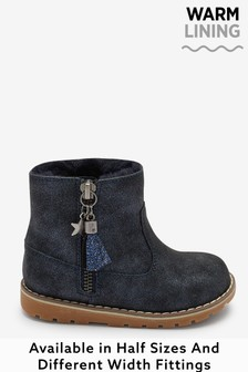 Navy Shimmer Standard Fit (F) Warm Lined Ankle Boots