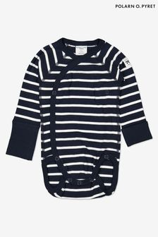 Polarn O. Pyret Blue Organic Cotton Striped Wrap Around Bodysuit