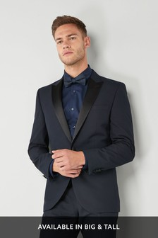 Navy Slim Fit Tuxedo Suit: Jacket