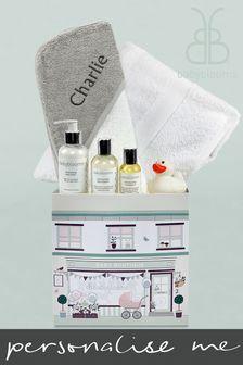 Babyblooms Personalised White New Baby Bathtime Gift Hamper