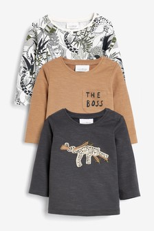 Monochrome 3 Pack Animal T-Shirts (0mths-3yrs)