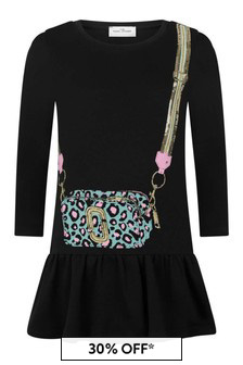 Girls Black Cotton Trompe L'oeil Dress