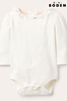 Boden Ivory Long-Sleeved Collared Bodysuit