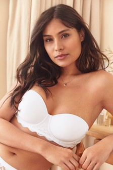 White Phoebe Organic Cotton And Lace Lightly Padded Multiway Bra