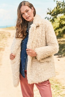 Neutral Shaggy Faux Fur Coat
