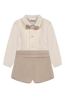 Baby Boys Beige Cotton Shorts Set