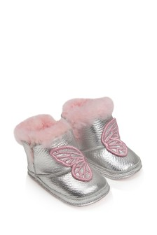 Baby Girls Silver/Pink Leather Shearling Boots