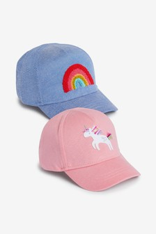 Pink Unicorn And Blue Rainbow 2 Pack Caps (Younger)