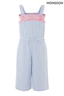 Monsoon Blue Ticking Stripe Jumpsuit In Pure Cotton