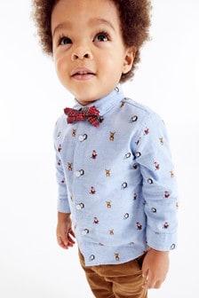 Blue Long Sleeve Christmas Print Shirt With Bow Tie (3mths-7yrs)