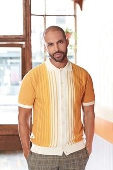 White/Yellow Stripe Premium Button Through Polo Shirt