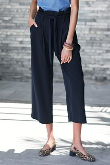 Navy Twill Belted Culottes