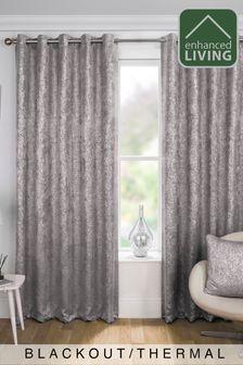 Enhanced Living Grey Halo Velvet Metallic Textured Print Eyelet Blackout/Thermal Curtains