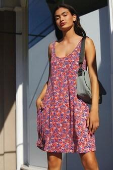 Red Ditsy Sleeveless Pocket Dress