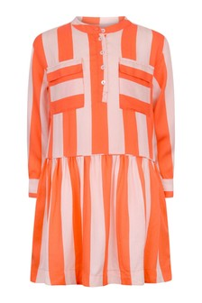 Girls Orange Striped Viscose Dress