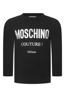 Baby Black Cotton Long Sleeve T-Shirt