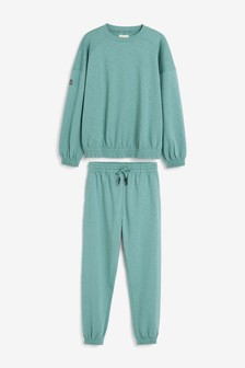 Green Lounge Joggers And Jumper Set