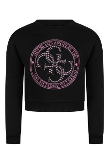 Guess Girls Black Cotton Sweater