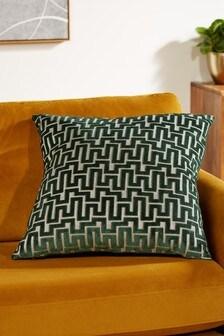 Fretwork Velvet Large Square Cushion