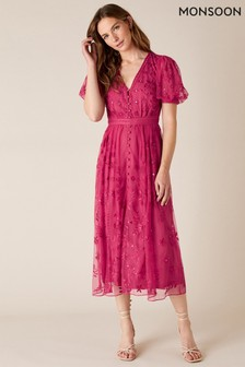 Monsoon Pink Valerie Sequin Embroidered Tea Dress
