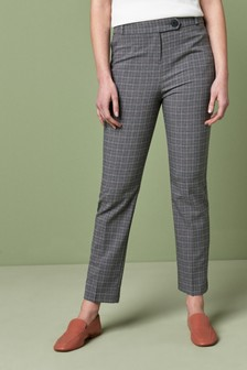 Grey Pink Check Slim Trousers