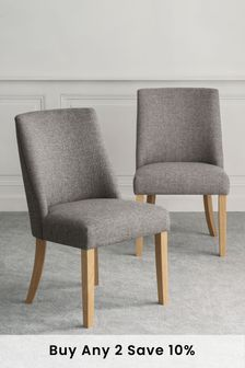 Chunky Weave Mid Grey Set of 2 Wolton Dining Chairs With Natural Legs