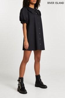 River Island Black Frill Collar Shift Mini Dress