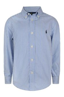 Boys Blue/White Striped Shirt