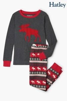 Hatley Moose Fairisle Pattern Kids Appliqué Pyjama Set