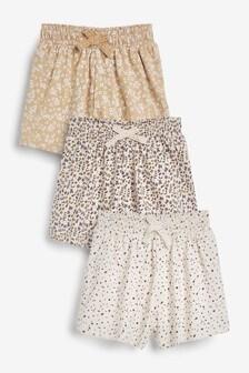 Neutral 3 Pack Organic Cotton Shorts (3mths-7yrs)