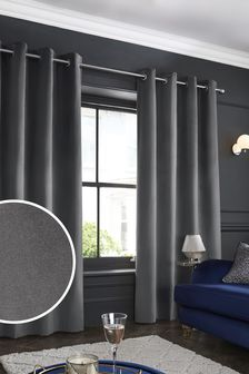 Charcoal Grey Matte Velvet Eyelet Lined Curtains
