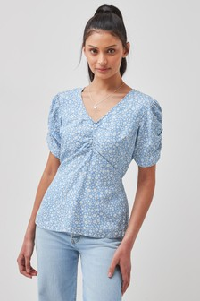 Blue Ditsy TENCEL™ Ruched Front Short Sleeve Top