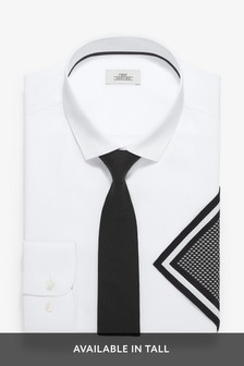 White Slim Fit Single Cuff Shirt With Black Tie And Pocket Square