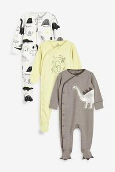 Monochrome 3 Pack Neon Dino Sleepsuits (0mths-2yrs)