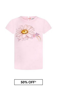 Monnalisa Baby Girls Pink Cotton Girls T-Shirt