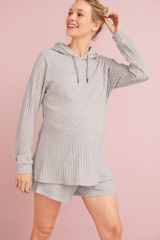 Grey Maternity Cosy Ribbed Hoodie