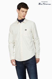 Ben Sherman Ivory Recycled Cotton Rib Collar Shirt