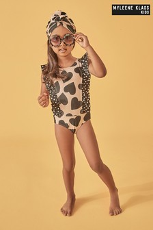 Myleene Klass Kids Ruffle Swimsuit And Hat Set