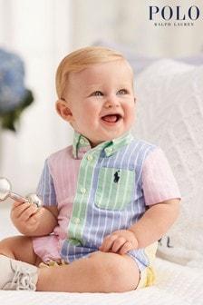 Ralph Lauren Multicoloured Stripe Oxford Romper