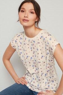 Ecru Floral Woven Mix T-Shirt