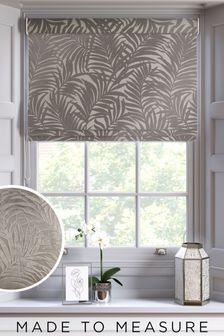 Cut Velvet Palm Leaf Warm Silver Made To Measure Roman Blind