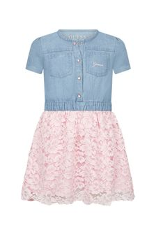 Guess Girls Blue Cotton Dress