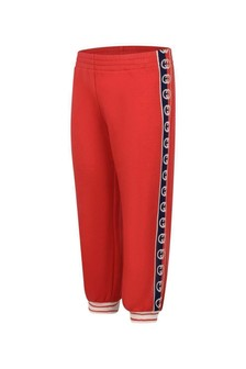 Boys Red Cotton GG Trim Joggers