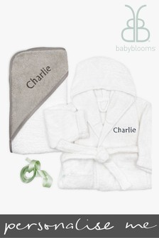 Babyblooms Personalised Grey Baby Bathrobe with Luxury Hooded Baby Towel